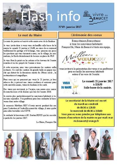 Bulletin municipal Le Beaucet - Flash info N°69 - Janvier 2017