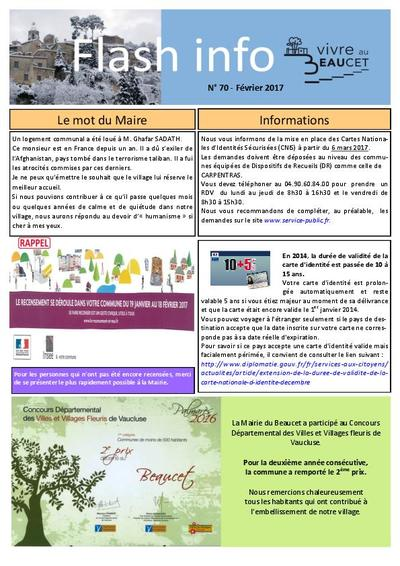 Bulletin municipal Le Beaucet - Flash info N°70 - Février 2017