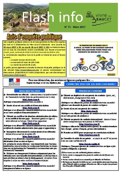 Bulletin municipal Le Beaucet - Flash Info N°71 - Mars 2017