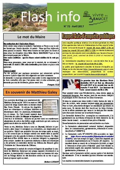 Bulletin municipal Le Beaucet - Flash info N°72 - Avril 2017
