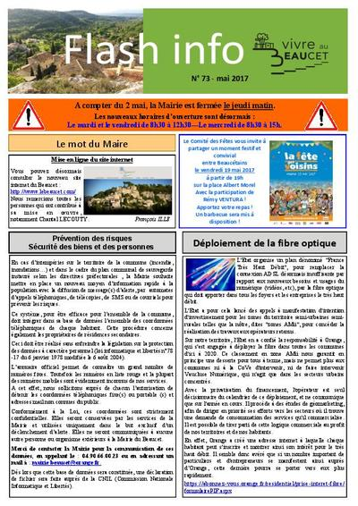 Bulletin municipal Le Beaucet - Flash info N°73 - Mai 2017