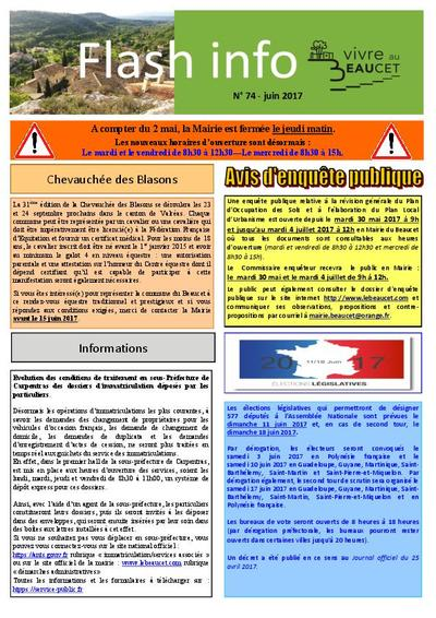 Bulletin municipal Le Beaucet - Flash Info N°74 - Juin 2017