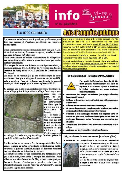 Bulletin municipal Le Beaucet - Flash info N°75 - Juillet 2017