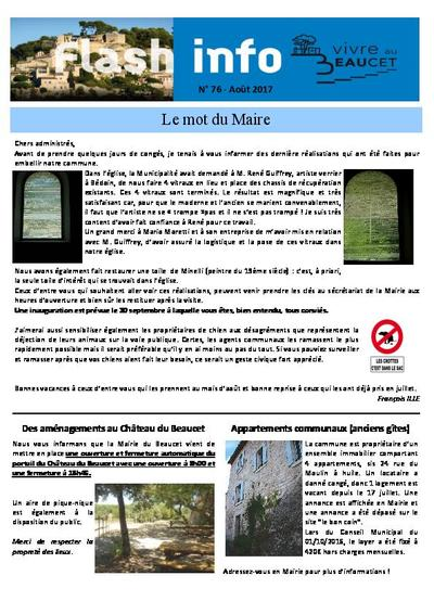 Bulletin municipal Le Beaucet - Flash info N°76 - Août 2017