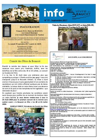 Bulletin municipal Le Beaucet - Flash Info N°77 - Septembre 2017