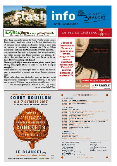 Bulletin municipal Le Beaucet - Flash Info N°78 - Octobre 2017