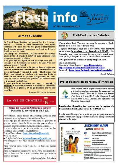Bulletin municipal Le Beaucet - Flash Info N°79 - Novembre 2017