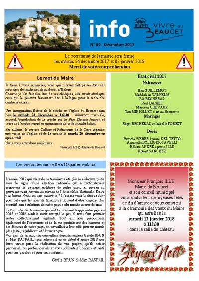 Bulletin municipal Le Beaucet - Flash Info N°80 - Décembre 2017