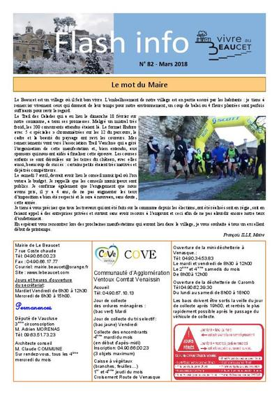 Bulletin municipal Le Beaucet - Flash-info N°82 - Mars 2018